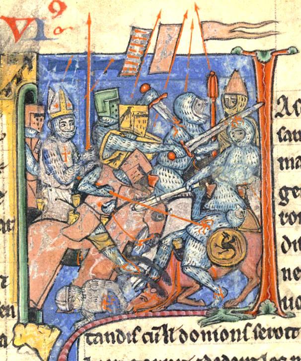 הצלבנים פורצים מחומות אנטיוכיה, נושאים את החנית הקדושה