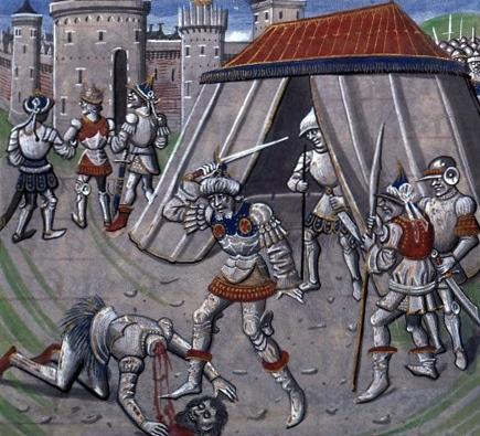 צלאח א-דין כורת את ראשו של רינו משאטיון, איור בספרו של ויליאם מצור, המאה ה- 15