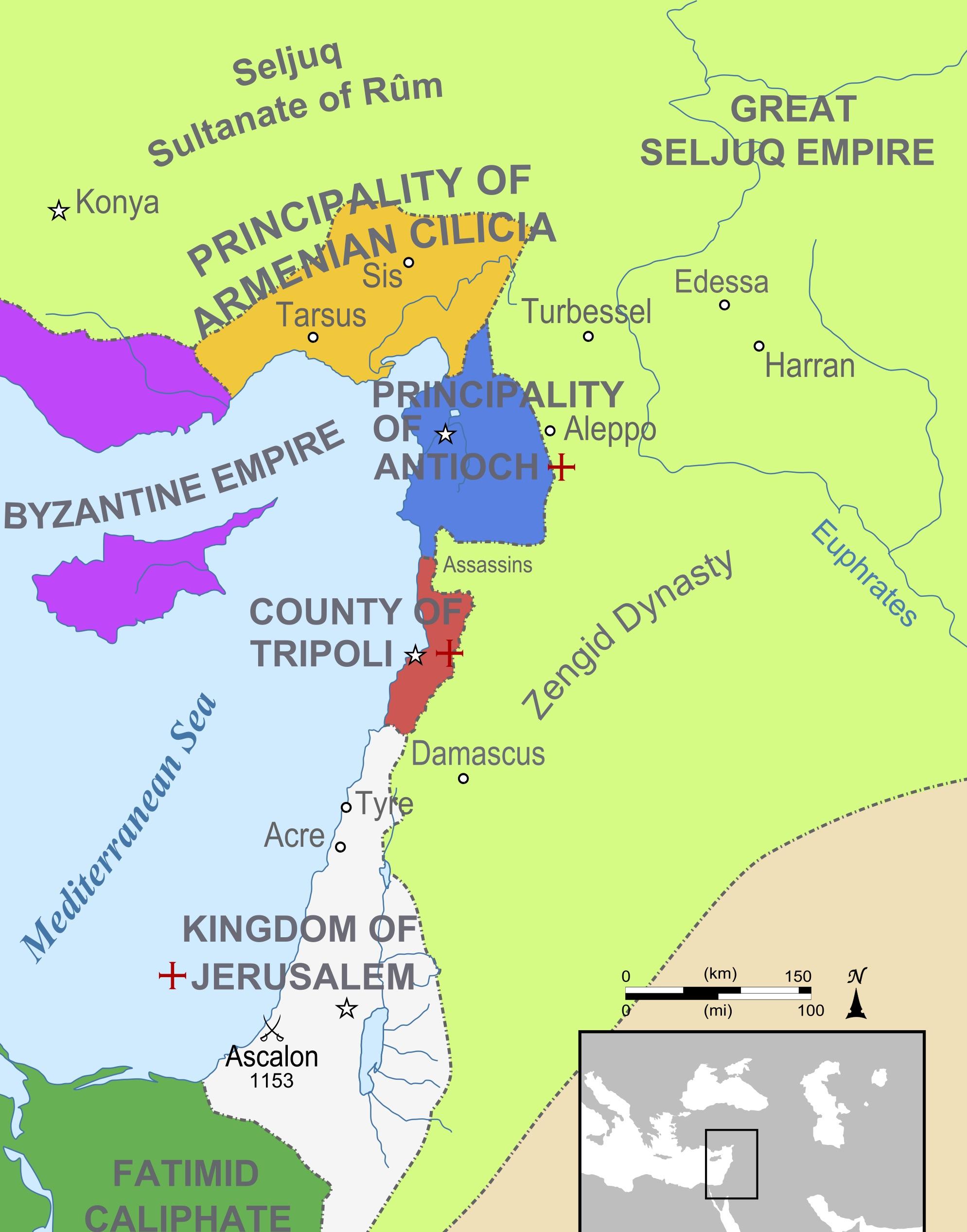 המדינות הצלבניות בשנת 1165