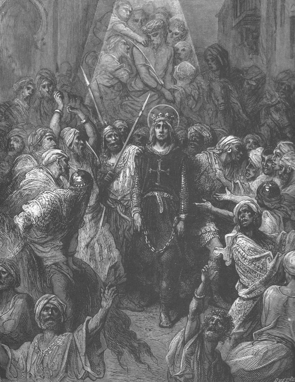 המלך לואי ה-9, הלא הוא לואי הקדוש, נופל בשבי תחריט מהמאה ה- 19, גוסטב דורה אתה לא כל כך יהיר עכשיו, מה?