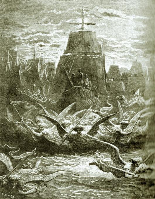 לואי ה- 9, הוא ׳לואי הקדוש׳, בדרכו למצרים, כשמלאכים חמושים מעופפים לפני ספינותיו. תחריט מהמאה ה- 19, גוסטב דורה פלישת נפוליון למצרים בשנת 1798 הושפעה רבות ממסע זה