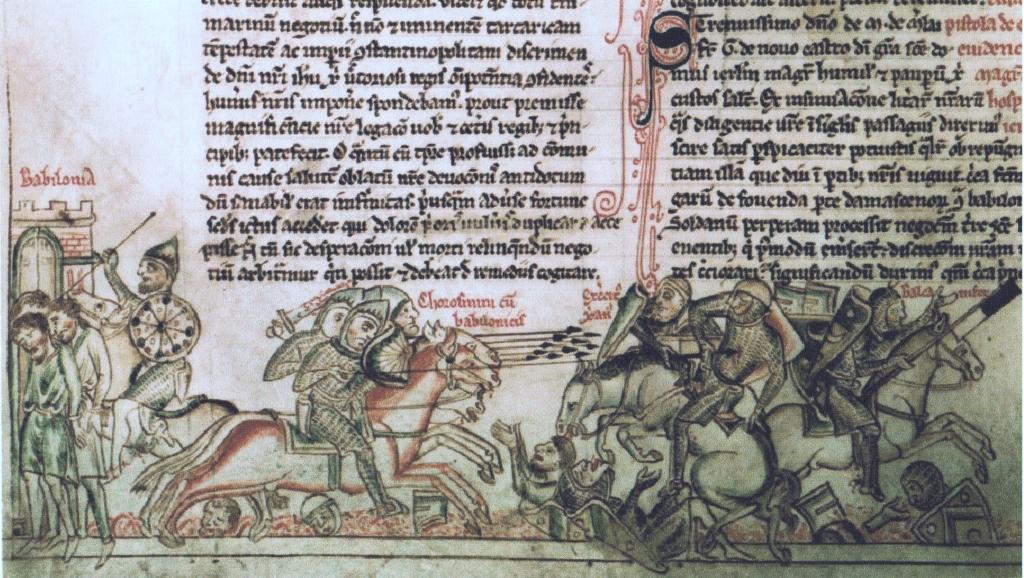 ציור קרב הירביה, מתוך כתב יד מהמאה ה- 13 כוח פרשים מוסלמי מביס את האבירים הנוצרים, אשר חלקם בורחים משדה הקרב, וחלקם מובלים לשבי