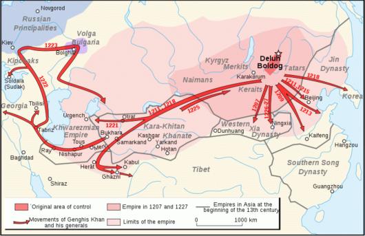 התפשטות האימפריה המונגולית בימי שלטון ג׳ינגיס חאן 1207 - 1227